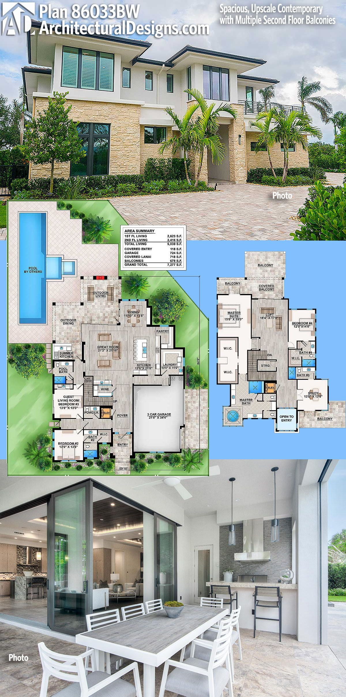 Plan 86033BW Spacious Upscale Contemporary with Multiple