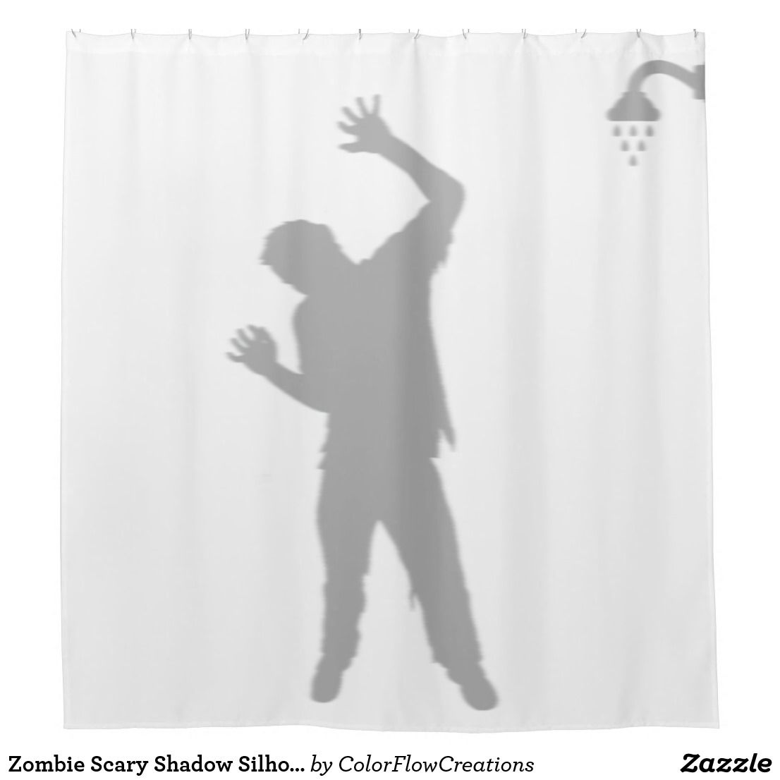 Zombie Scary Shadow Silhouette Behind Man Shower Curtain