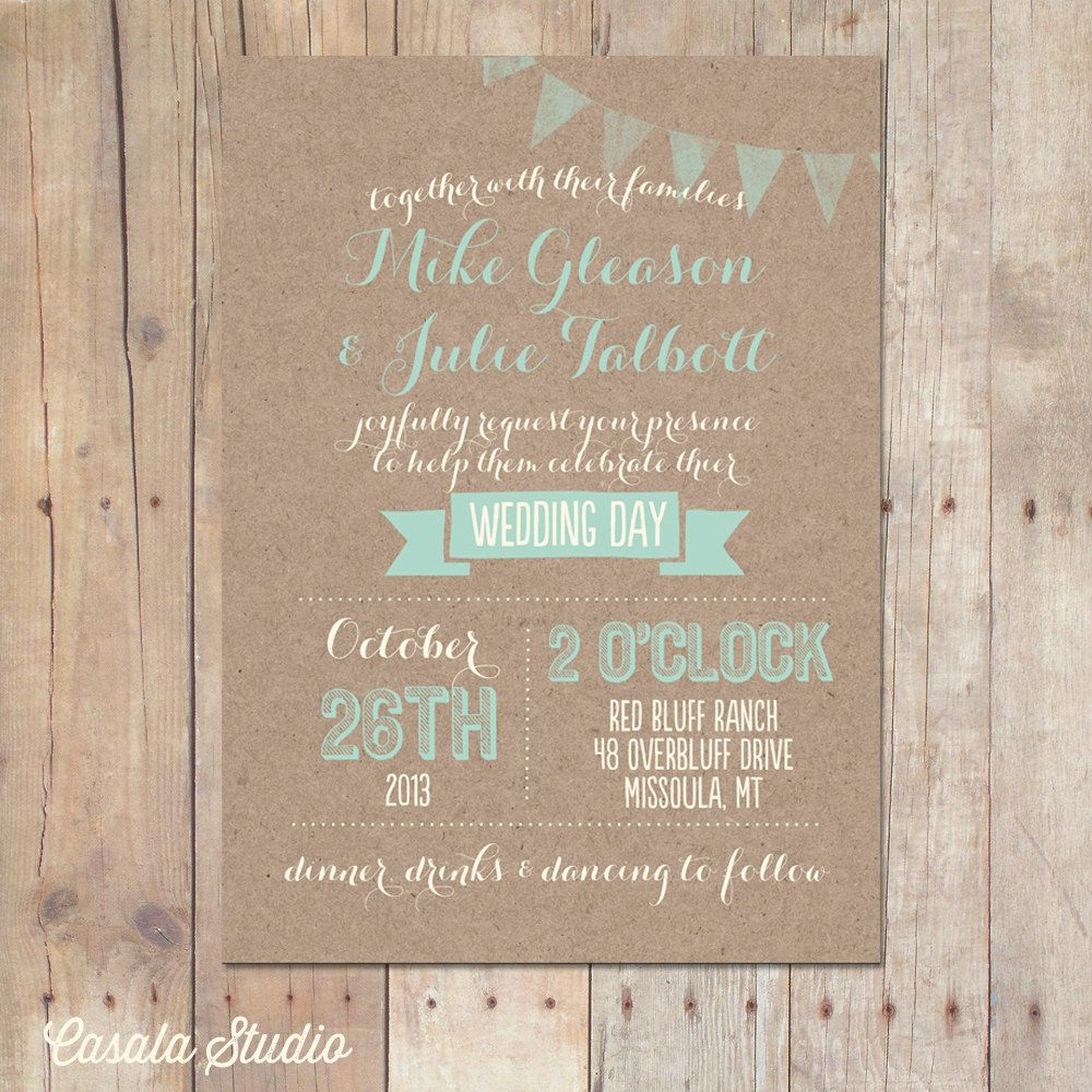 Rustic Pine Toung And Groove Interior Design: Rustic Kraft Wedding Invitation Mint Peach Bridal By
