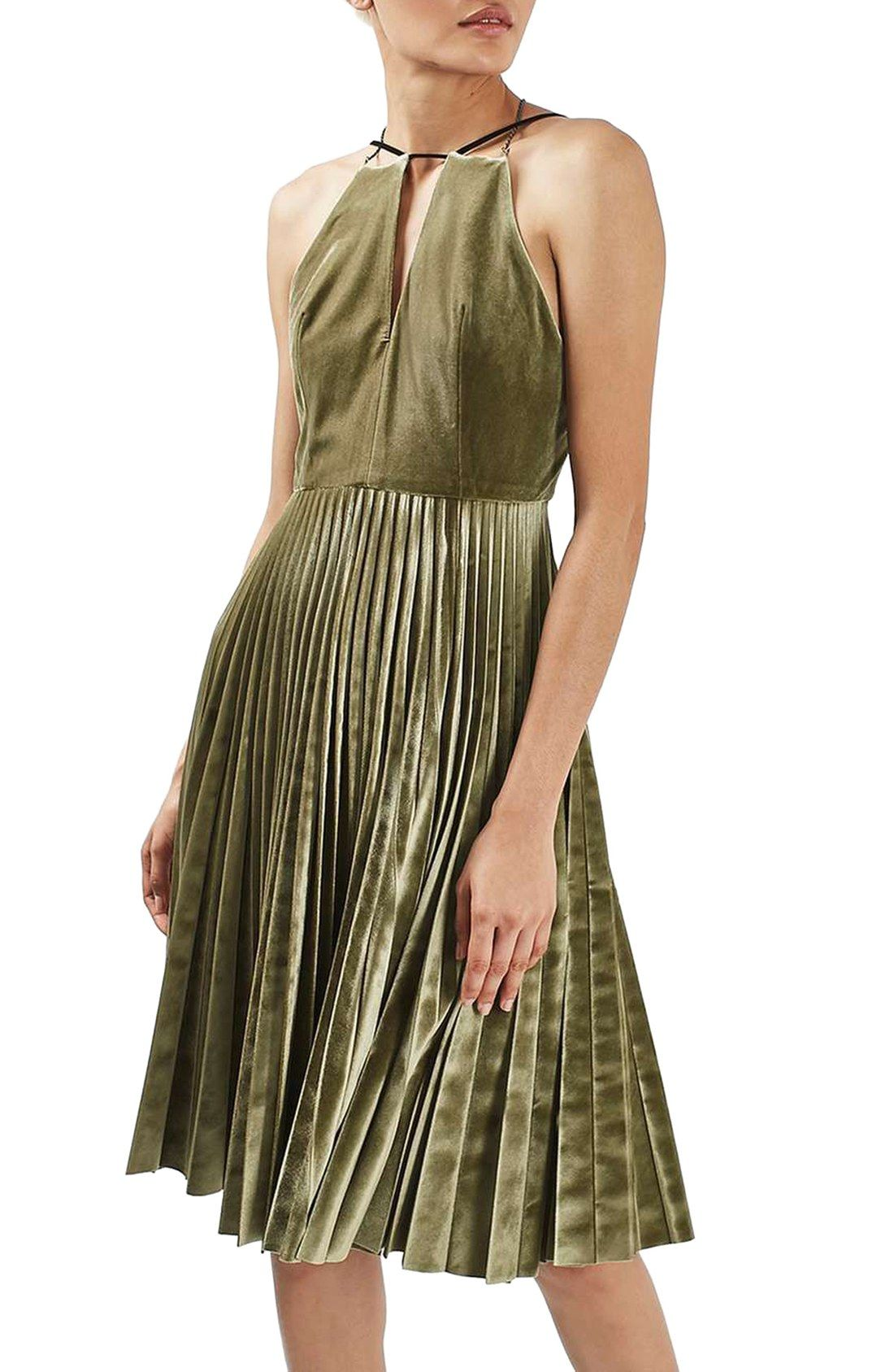 Pleated Velvet Fit & Flare Dress | [ holiday: what to wear ...