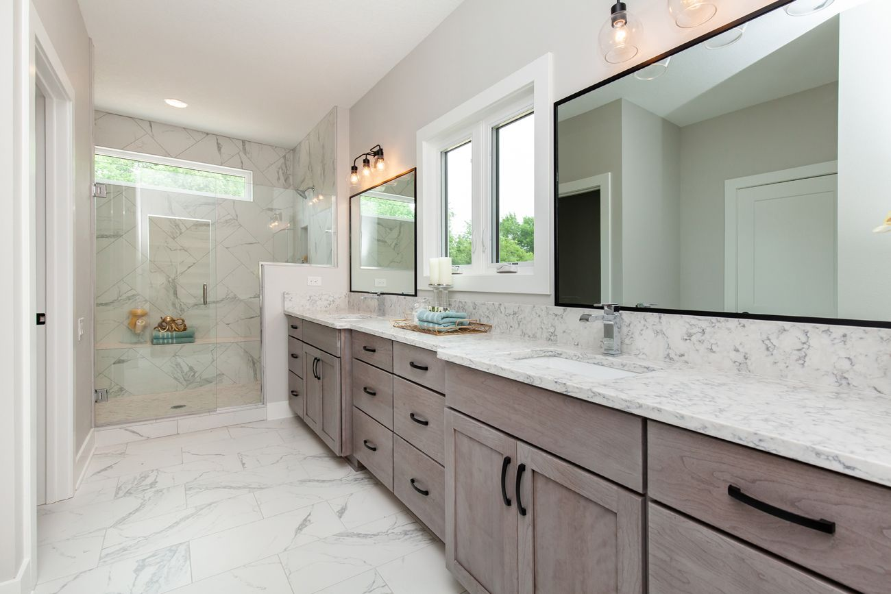 White Bathroom Gray Stained Cabinets Master Bathroom Decor Staining Cabinets [ 867 x 1300 Pixel ]