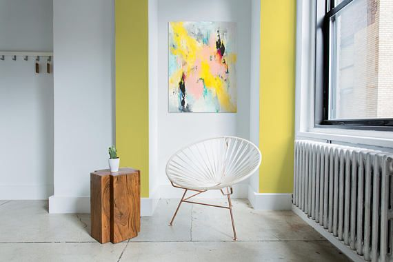 Wall art home decor, abstract, blush pink, yellow, black, modern ...