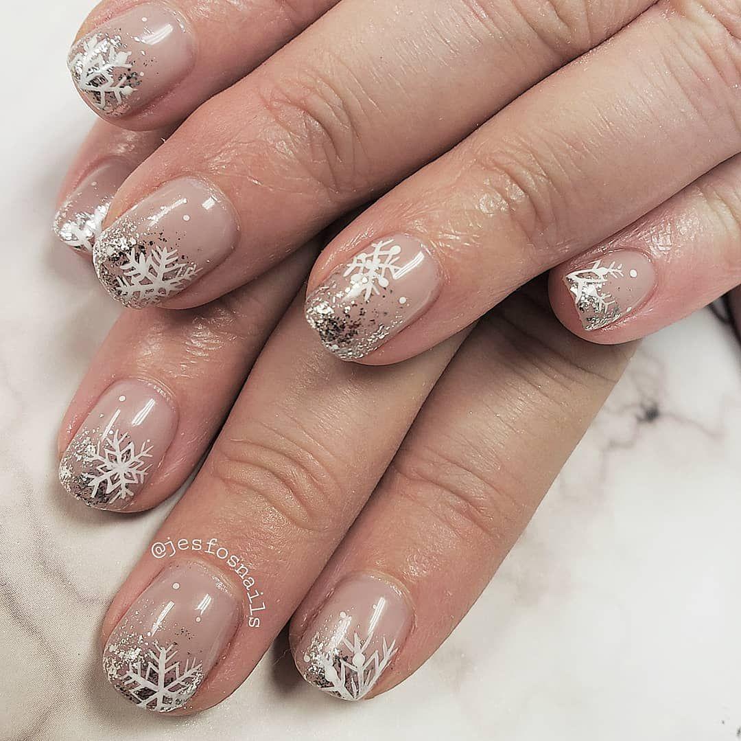 Snowflake Winter Christmas Nails Hand Painted Gel Nail Art Fancy Nails Nail Decorations Christmas Nails
