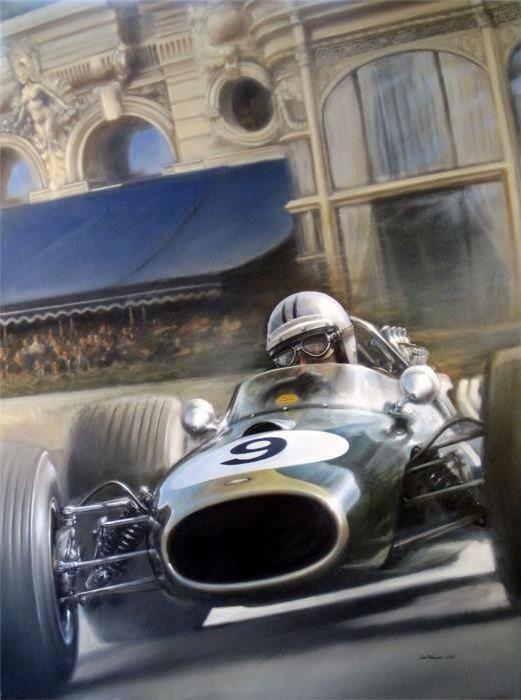 Denny Hulme winning the '67 Monaco GP, Brabham BT20 Repco (unattributed)...
