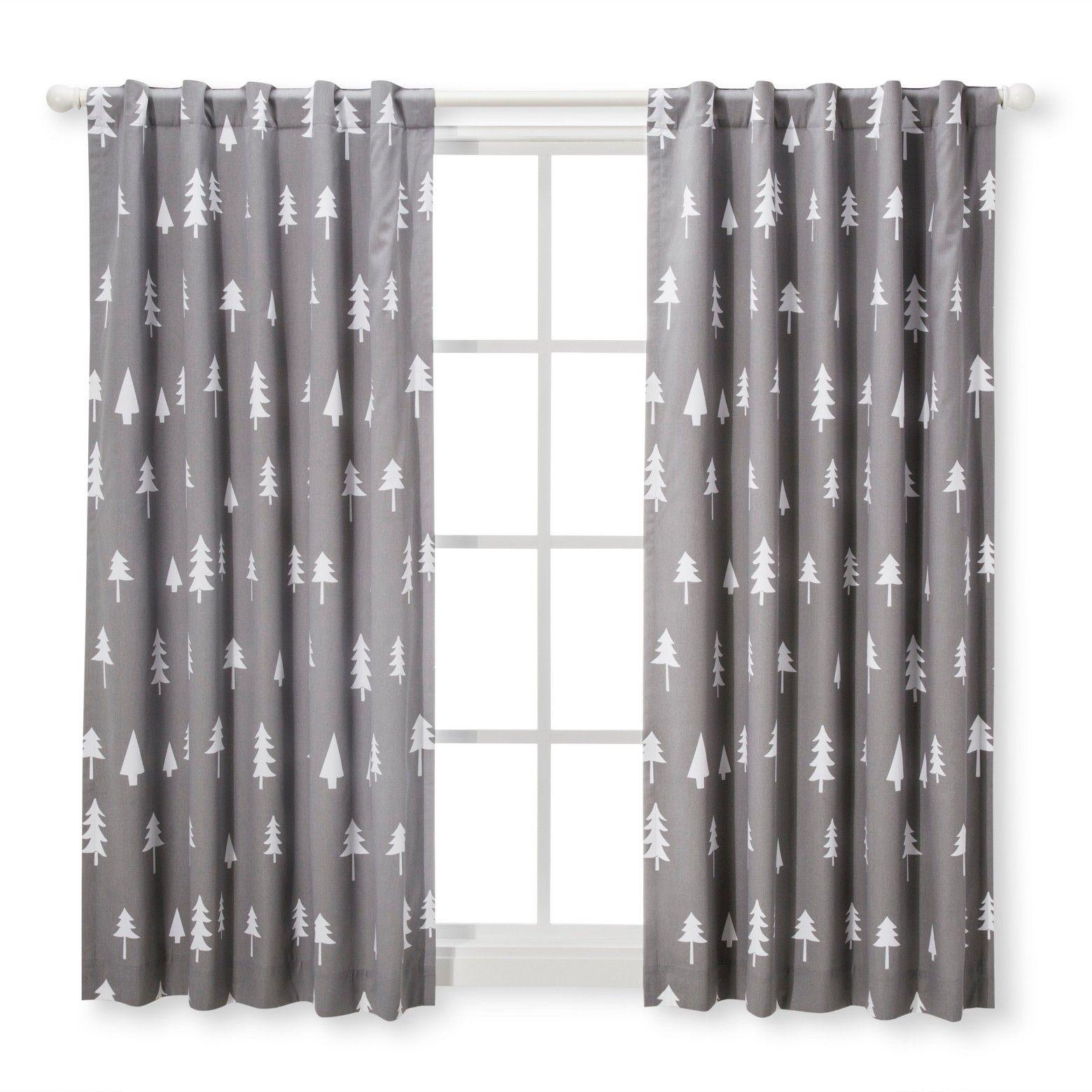 Blackout Curtain Panel Trees Cloud Island Gray Nursery