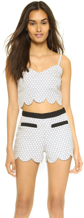 ENGLISH FACTORY Scallop Detail Crop Top Blouse #gray #grey #crop #outfit #shorts #fashion
