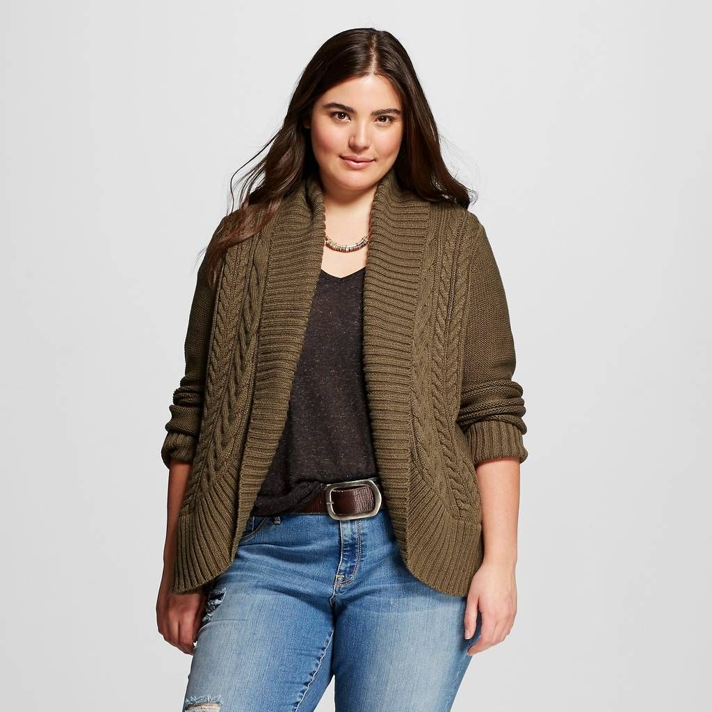 Womens Plus Size Cable Open Cardigan Mossimo Supply Co My