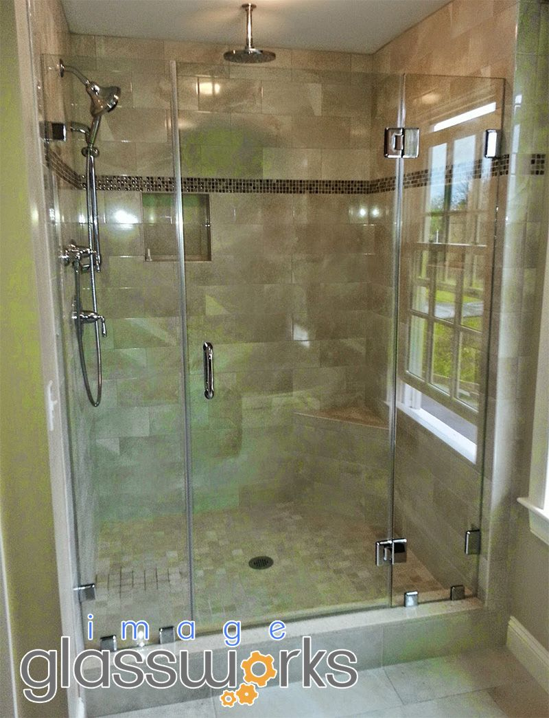 Frameless Shower Door And Two Panels A Support Panel To Allow The Door To Be Mounted On Center Of Th Frameless Shower Doors Shower Doors Beautiful Bathrooms