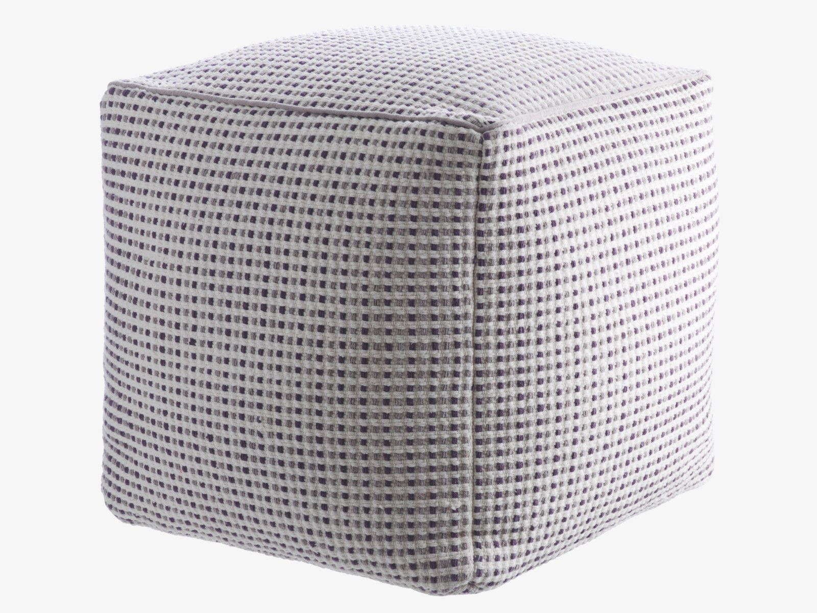 ALLY GREYS Fabric Grey Square Pouf   HabitatUK
