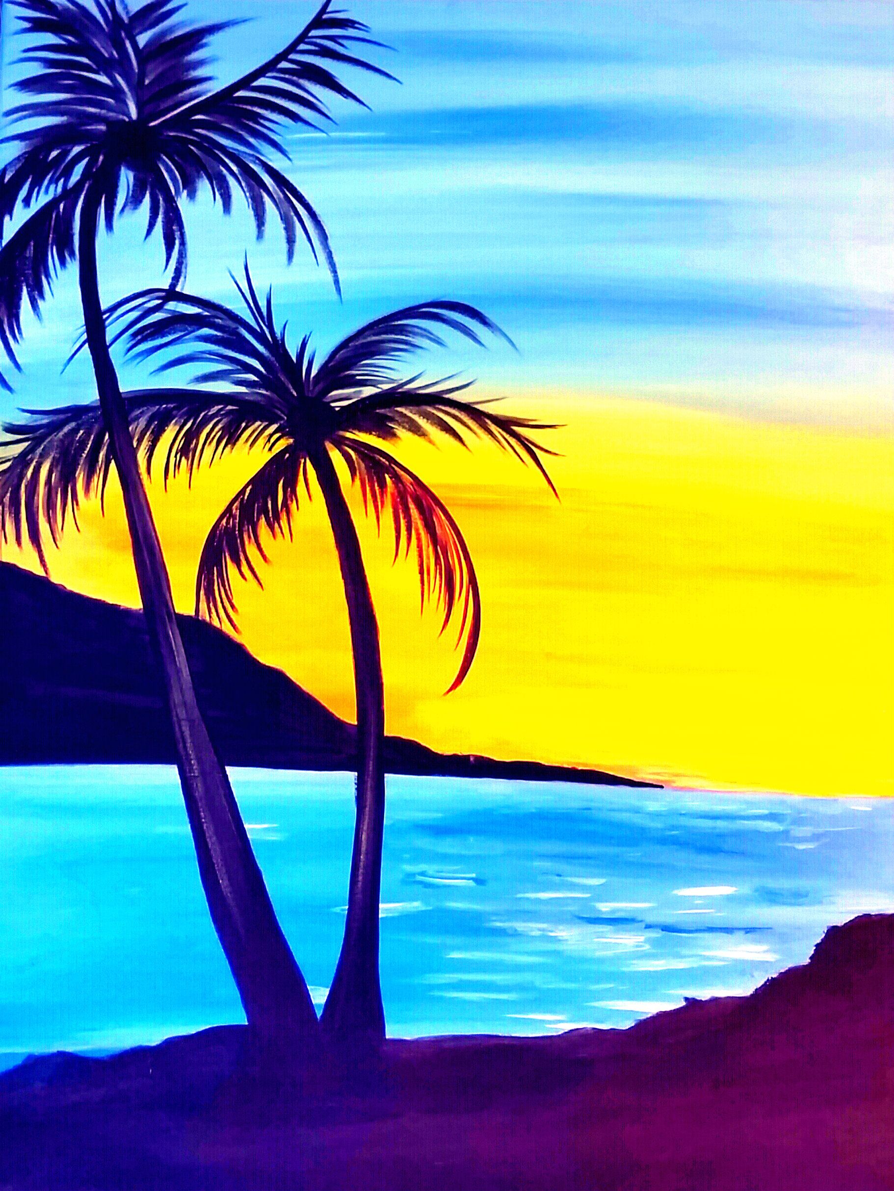 BEACH UMBRELLA ILLUMINATION by Mikaela McLeish # ... Easy Beach Sunset Paintings
