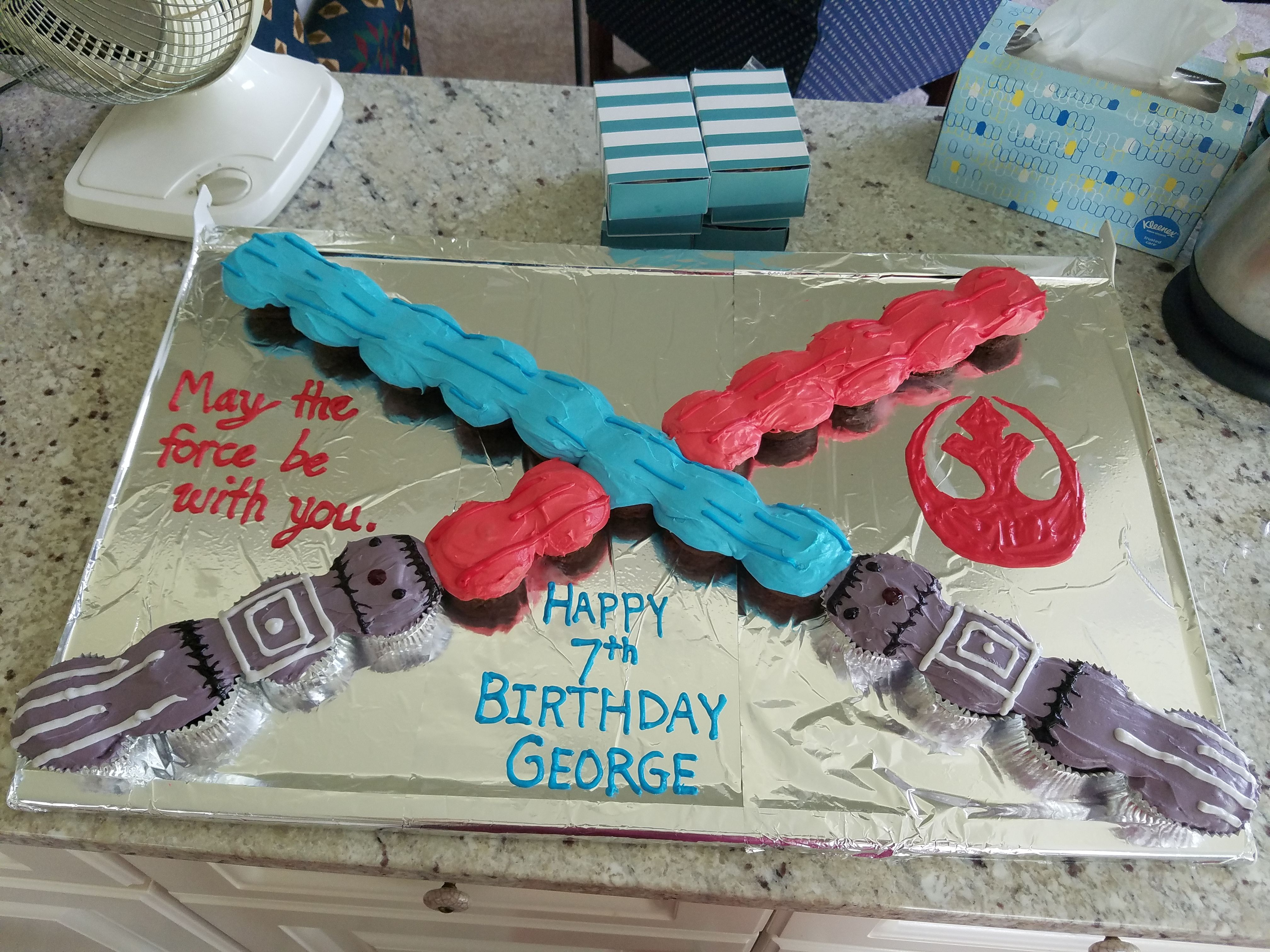 Swell Lightsaber Cake With Images Happy 7Th Birthday 7Th Birthday Funny Birthday Cards Online Sheoxdamsfinfo