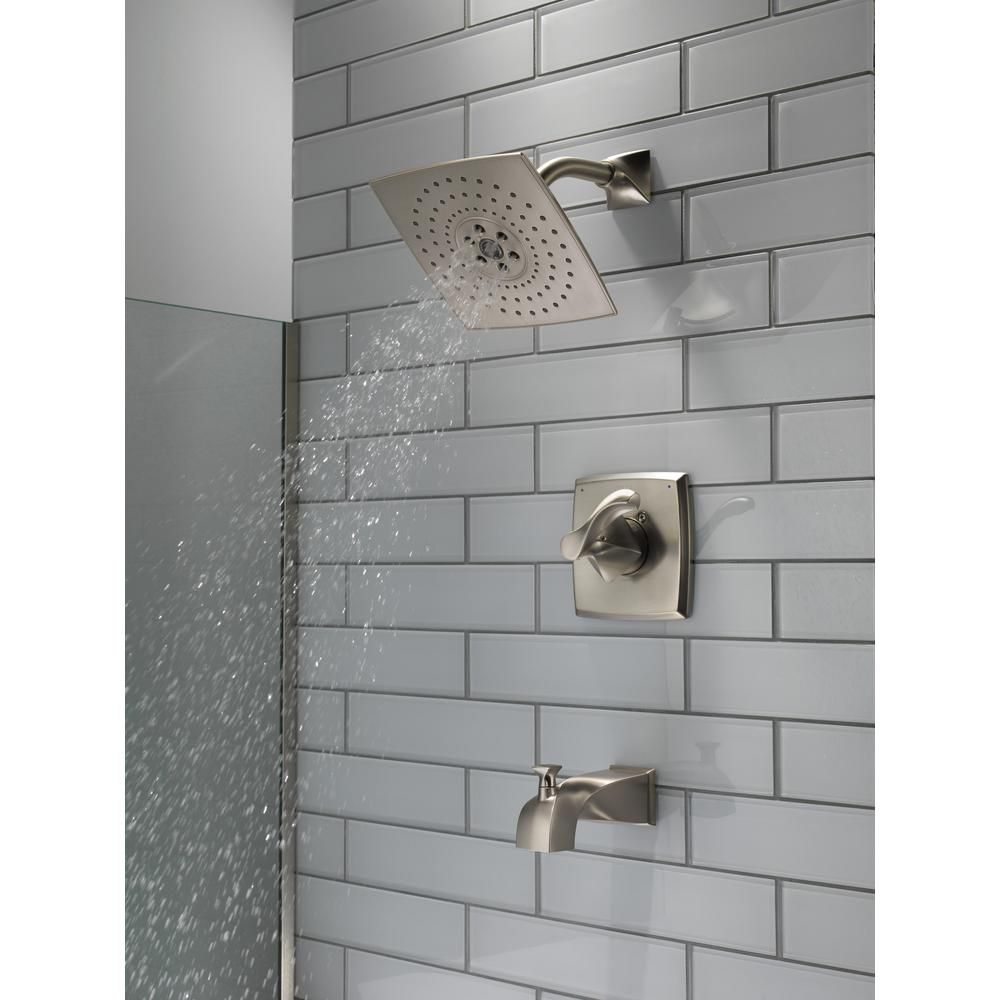 Delta Everly 1 Handle 3 Spray Tub And Shower Faucet In Spotshield Brushed Nickel With H2okinetic Technology Valve Included 144741 Sp Shower Faucet Shower Tub Tub Shower Faucets
