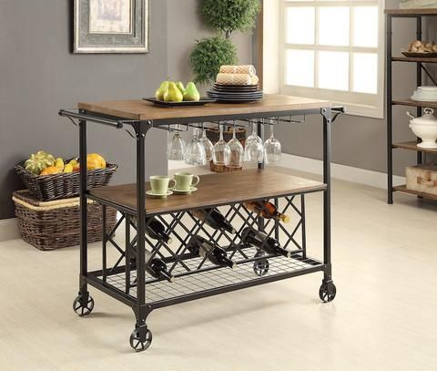 Jacke Wood  Metal Serving Cart Medium Oak - Dazzling Spaces Bar