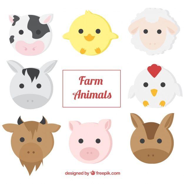 Pack Of Farm Animals In Flat Design Farm Animals Barnyard Animals Cute Cartoon Animals