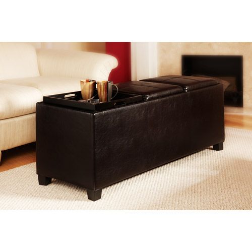 Designs4comfort Faux Leather Storage Bench With 3 Tray Tops