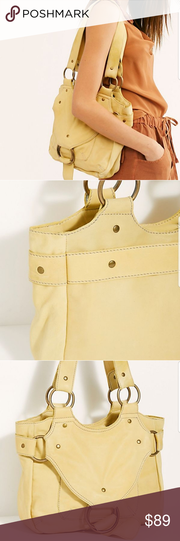 Free People Bardot Yellow Leather Womens Tote Bag New