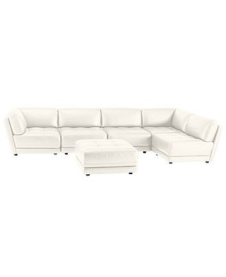 Vice Versa 6 Piece Modular Tufted Leather Sectional Furniture Macy S Tufted Leather Leather Sectional White Leather Sofas