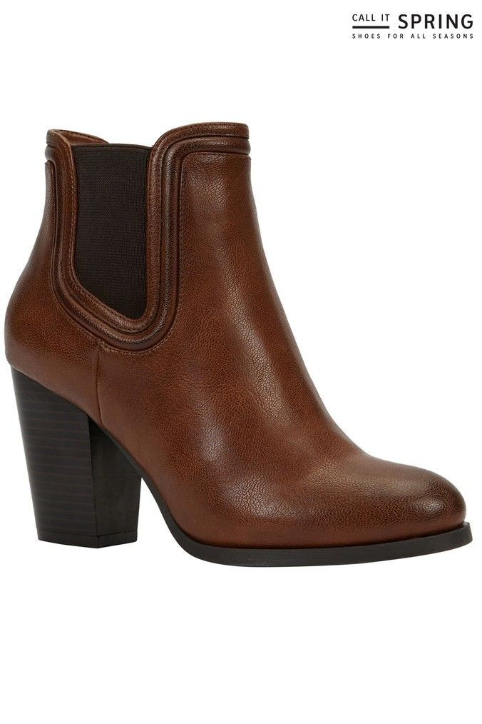 Womens Call It Spring Block Heel Ankle Boots Brown | Boots