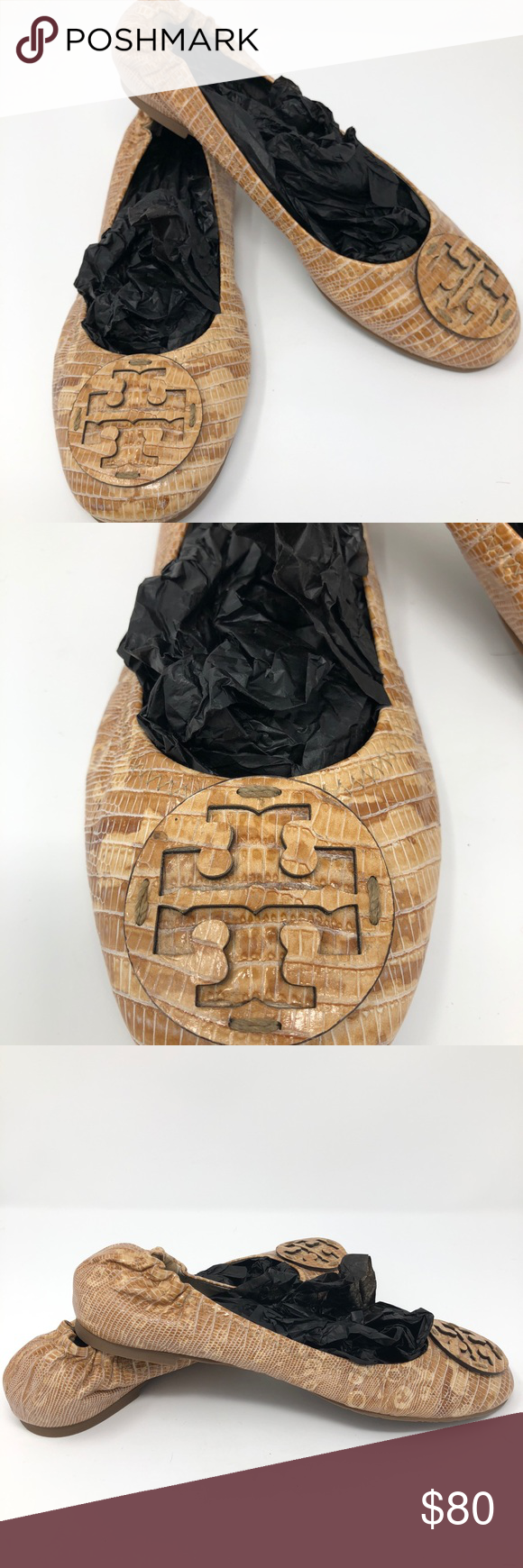 fe8baf678a25 Brown snake skin Tory Burch Reva Flat 10.5 Gorgeous snake skin brown tan  family with iconic