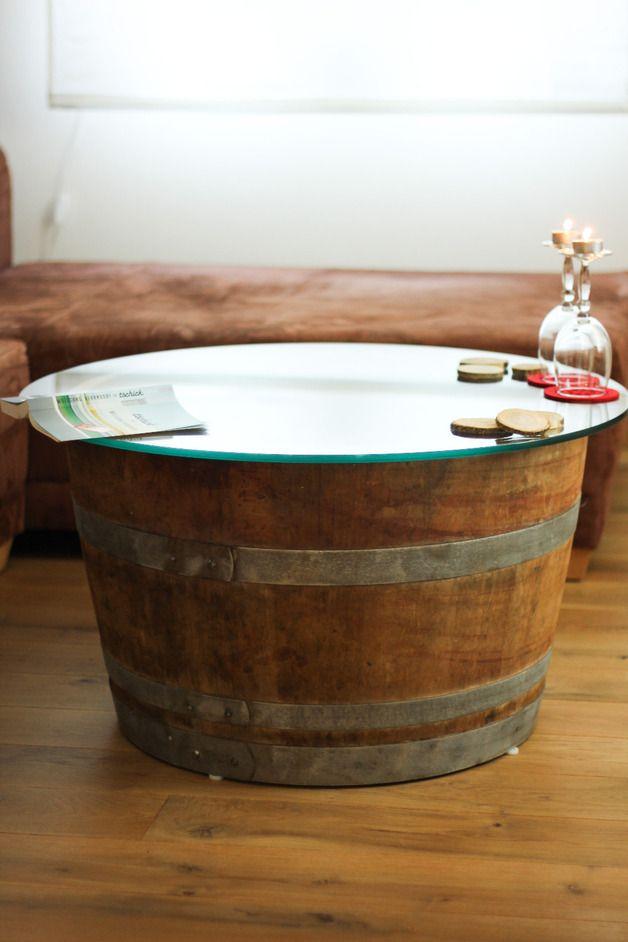 Couchtische Weinfass Tisch Mit Glasplatte Ein Designerstuck Von
