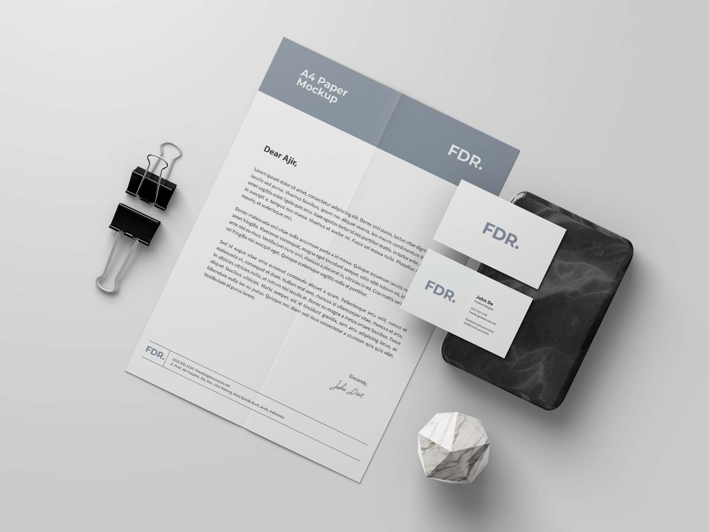 Free A4 Letterhead And Business Card Mockup Psd Business Card Mock Up Business Cards Mockup Psd Free Business Card Mockup