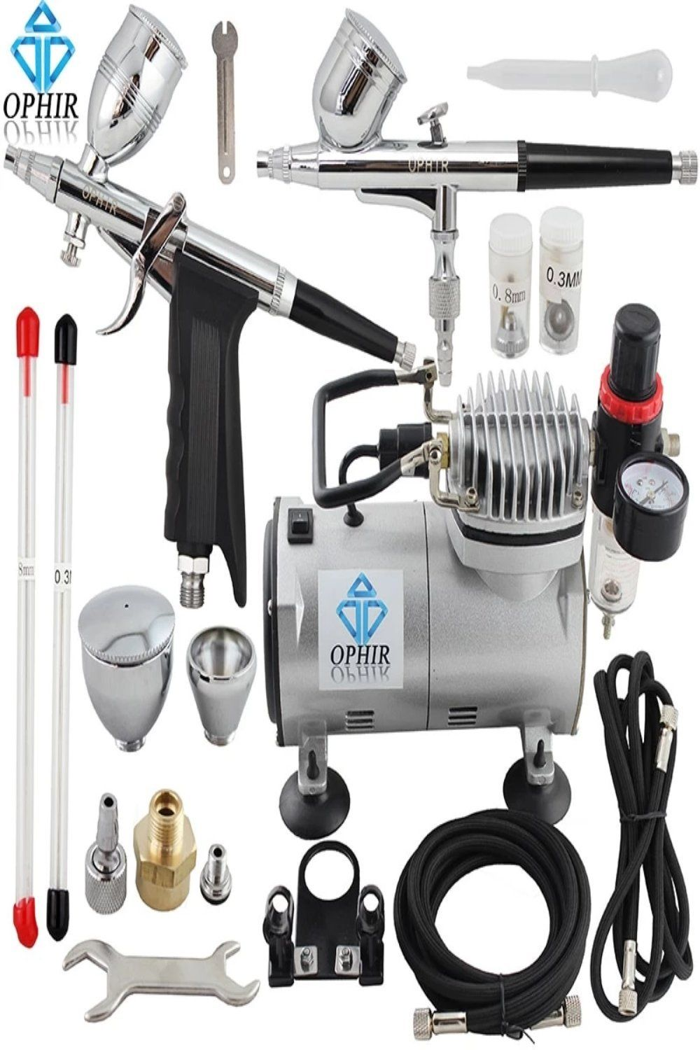 OPHIR 2 DualAction Airbrush Kit with PRO Air Compressor