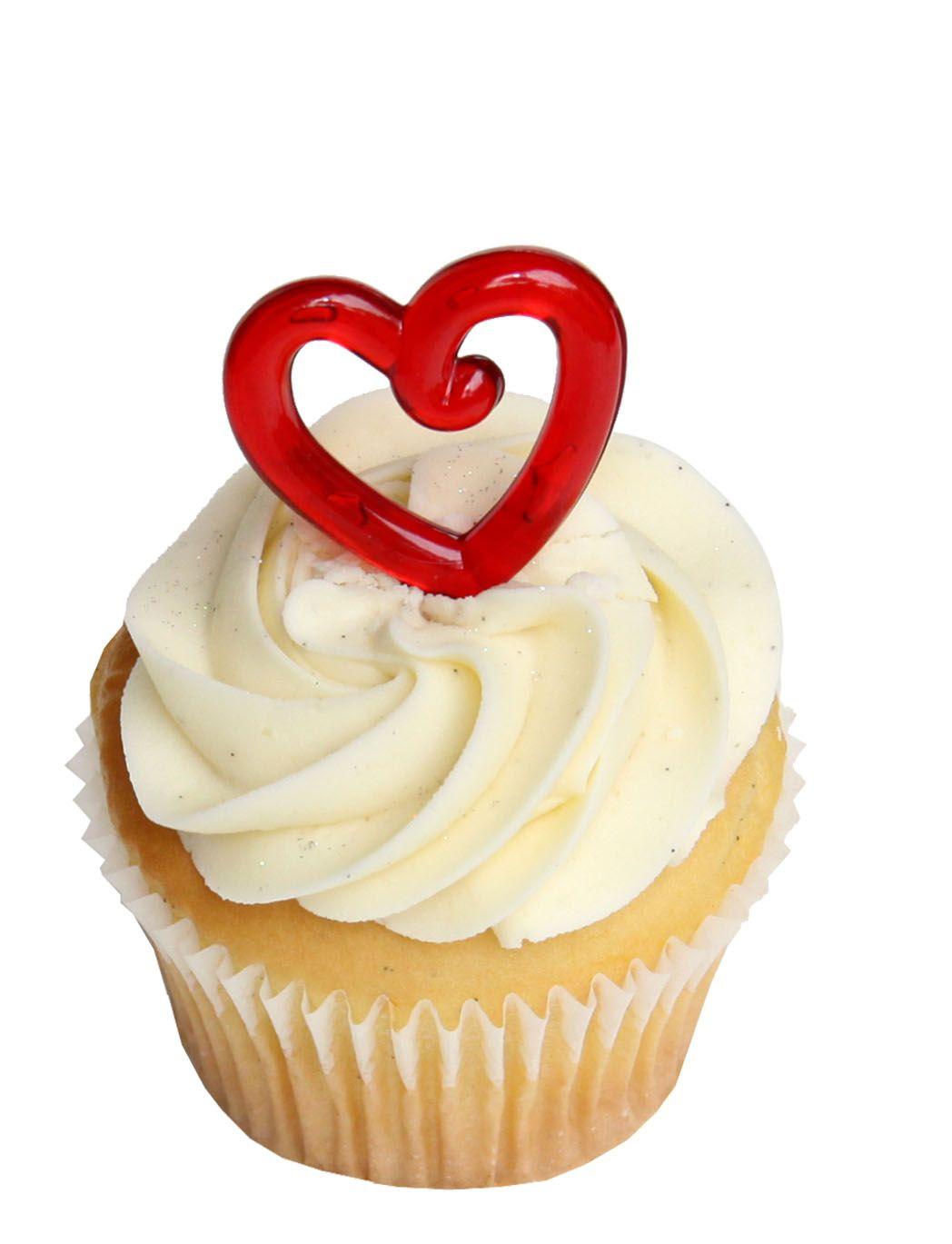Vanilla cupcake with red heart topper cupcakes vanilla