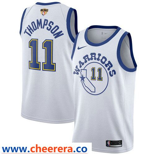 9a4ab81a73f Nike Warriors  11 Klay Thompson White Throwback The Finals Patch NBA  Swingman Hardwood Classics Jersey