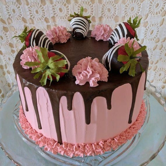 Photo of Fake cake/Faux cake/Artificial cake/Photo props/Fake food/Prop cake/Drip cake/Valentine's Day prop cake/Kitchen decor/Chocolate strawberries