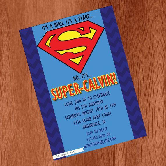 Superman Party Invitation Digital File by CSdesignANDprint 1000
