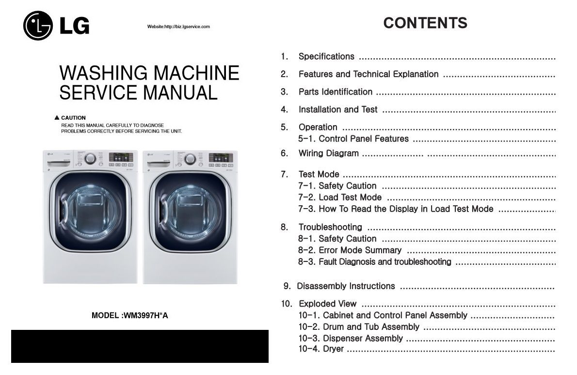 Lg Wm3997hwa Wm3997hva Washer Dryer Combo Service Manual Wiring Diagram Of Washing Machine With Steam Combination Original Repair And Technical Troubleshooting