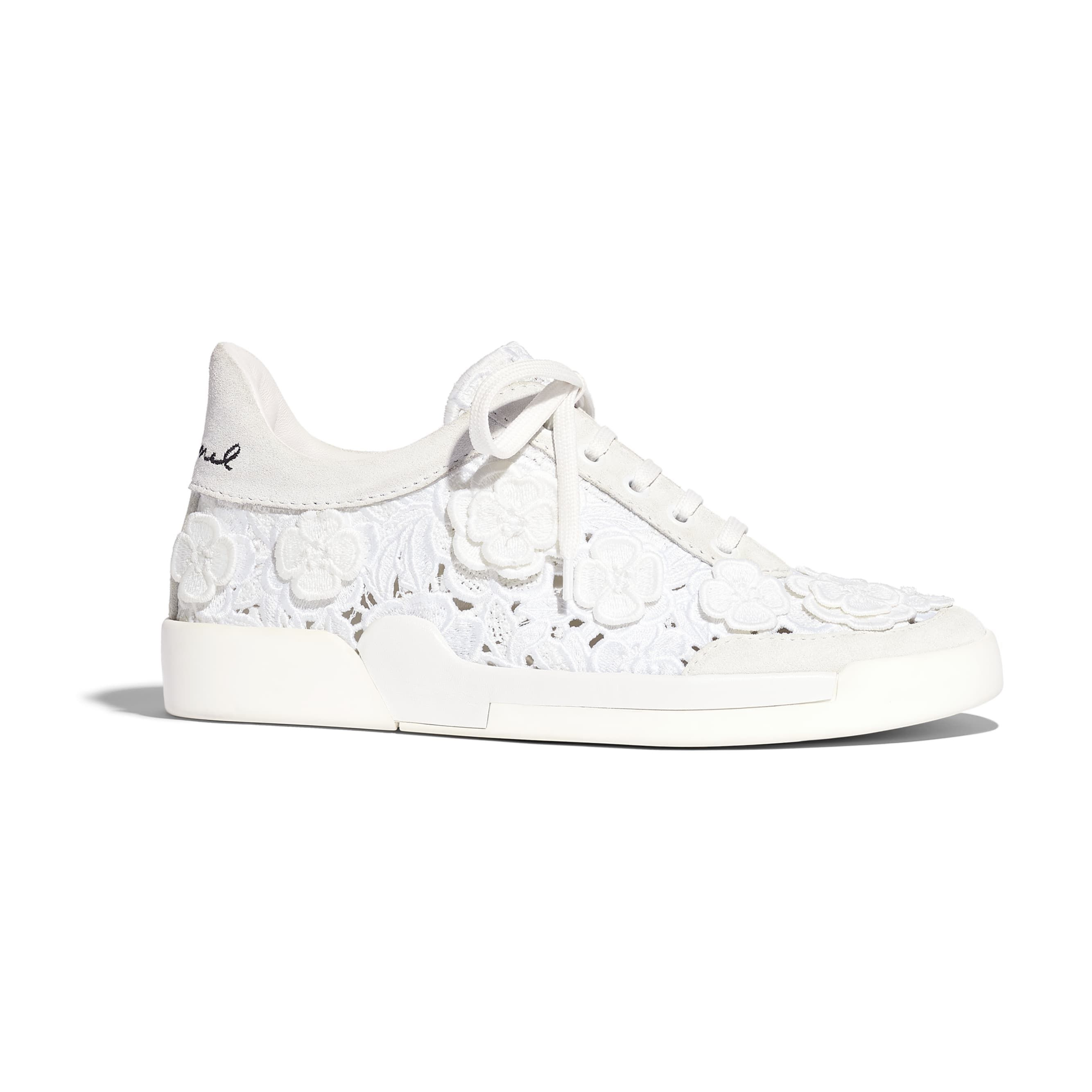 Embroidery White Lace-Ups   CHANEL
