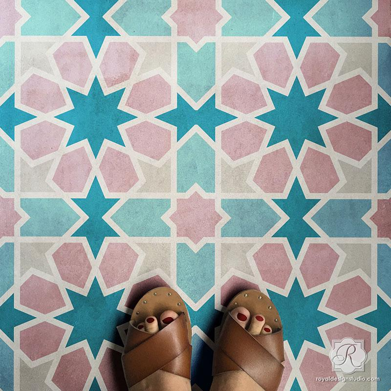 Rabat Tile Stencil Large Floor Tiles Moroccan Pattern Tile Floor