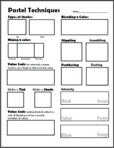 Dry Pastel Techniques Worksheet & Lesson Plan Pastel