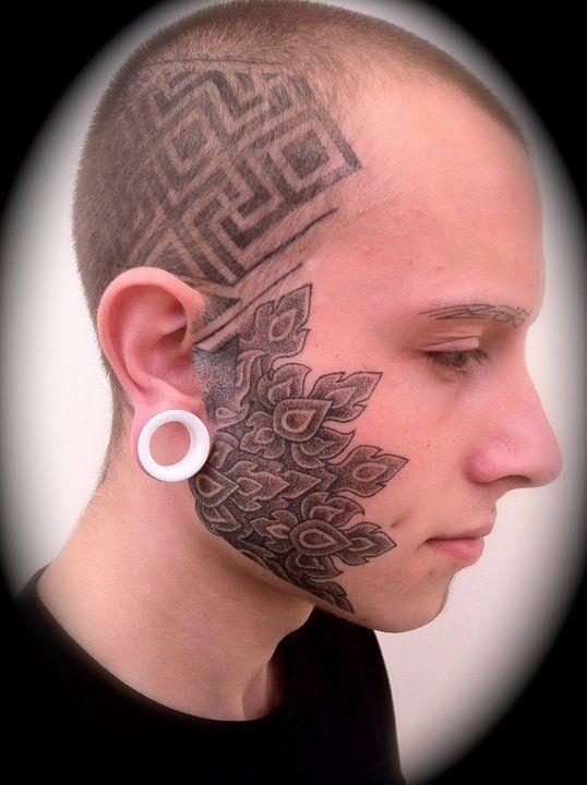 ef6af6137eb8d 20 Awesome Face Tattoo Designs | face tattoo | Facial tattoos, Face ...