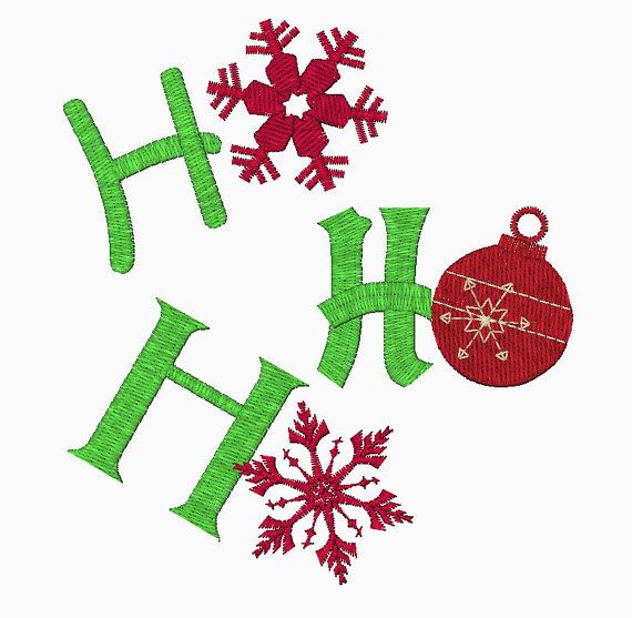 Ho Ho Ho Digital Embroidery Design In Two Sizes Embroidery Designs