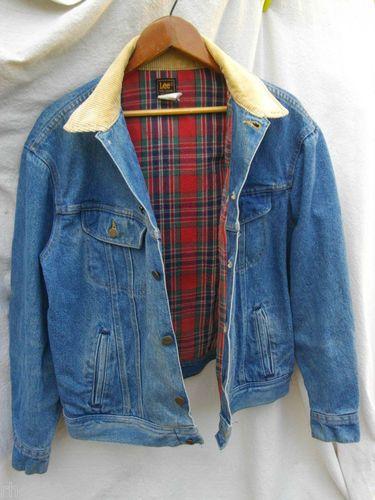 LEE RIDER Vintage Retro Classic Lined Blue Jean Denim Jacket Men L Aged  Washed