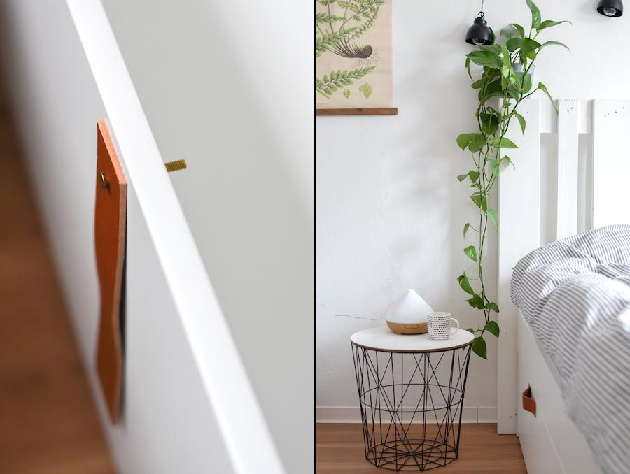 Wie Ich Mein Bett Mit Paletten Kopfteil Und Ledergriffen Optimiert Habe Ikea Bett Mit Schubladen Leiterdekor Bett Mit Schubladen