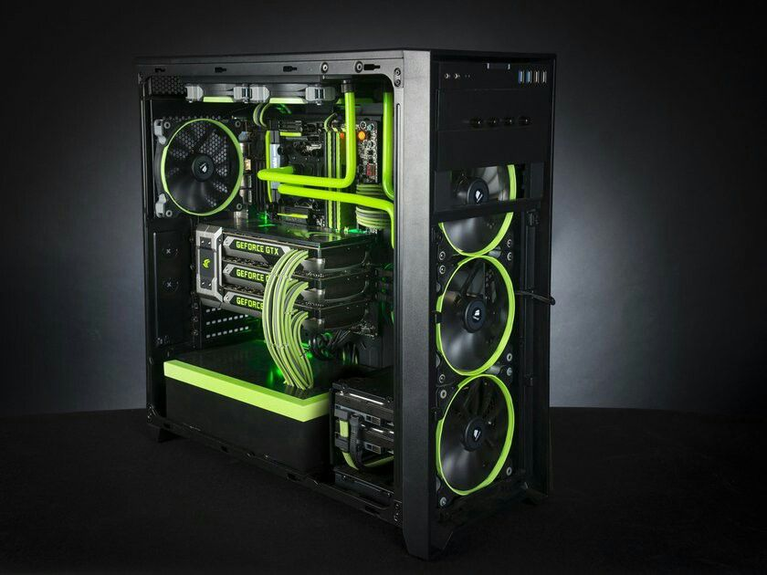 Green Pc Build With Green Liquid Cooling System Custom Gaming