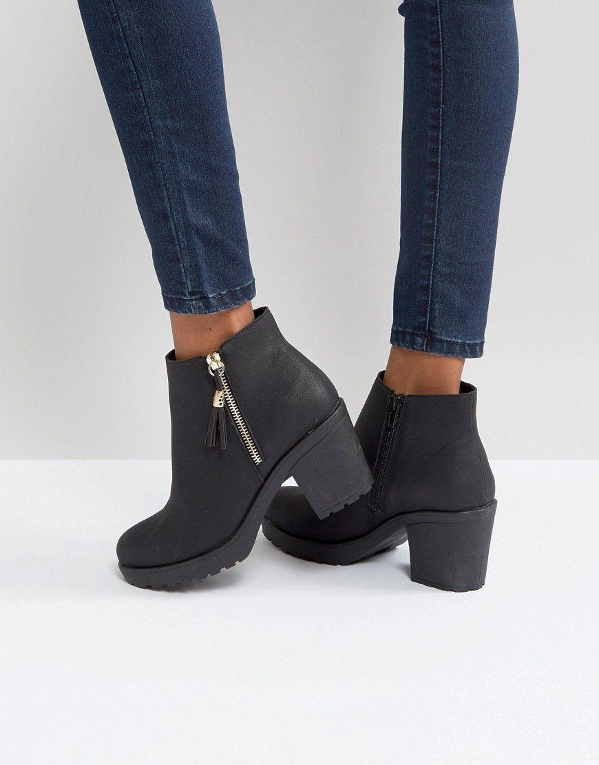 c6ee031bb3a Boohoo Zip Side Chunky Heel Ankle Boot - Black