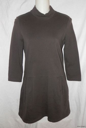 Women FREE PEOPLE DRESS XS Solid Gray Knit MOD TUNIC Drop Waist 3/4 Slv Stretch