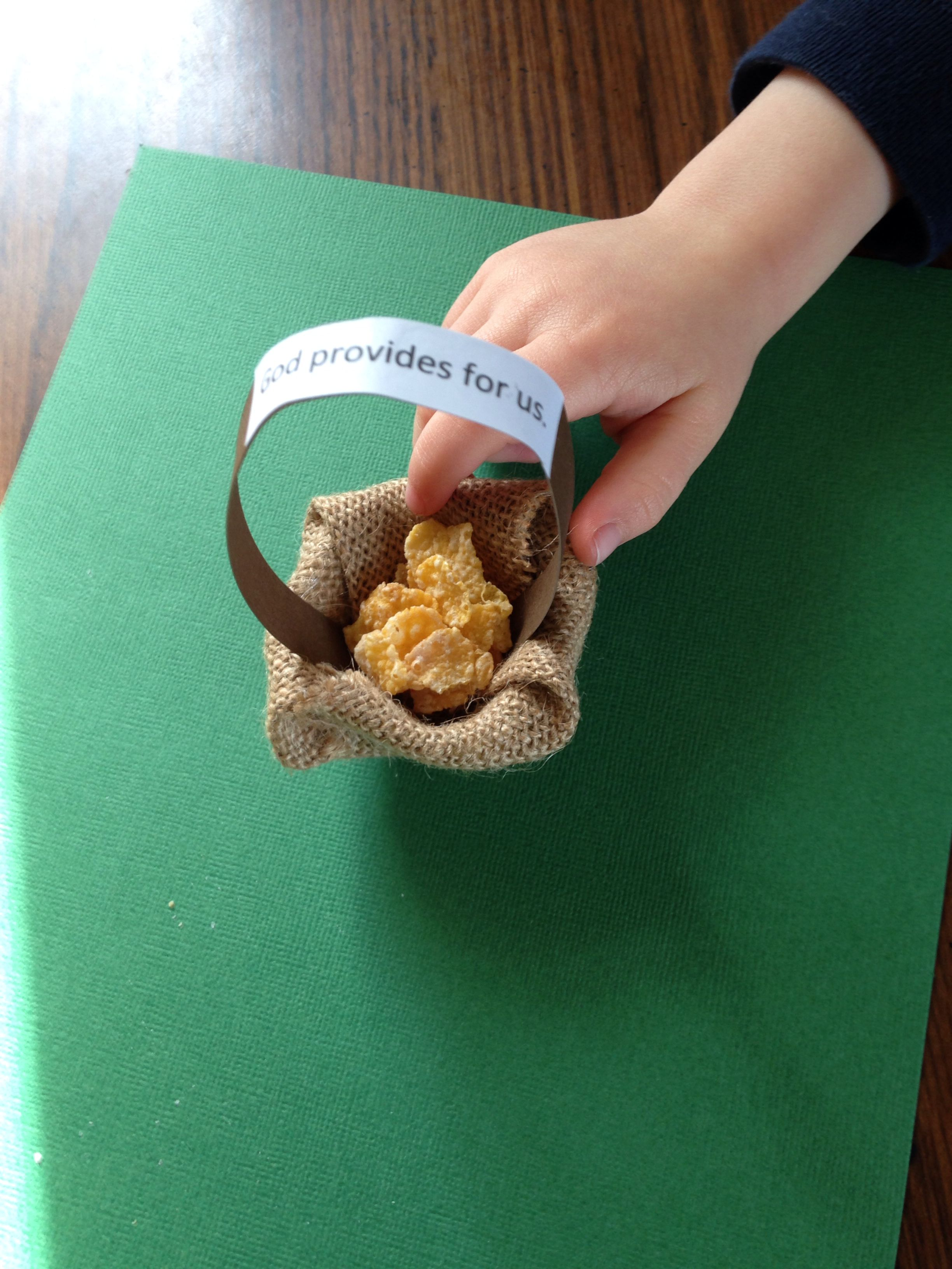 God Provides Manna Craft And Activity I Made Baskets Out Of Egg Carton Burlap And Paper Have