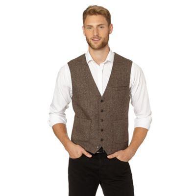 Jeff Banks Designer brown wool blend waistcoat- at Debenhams.com