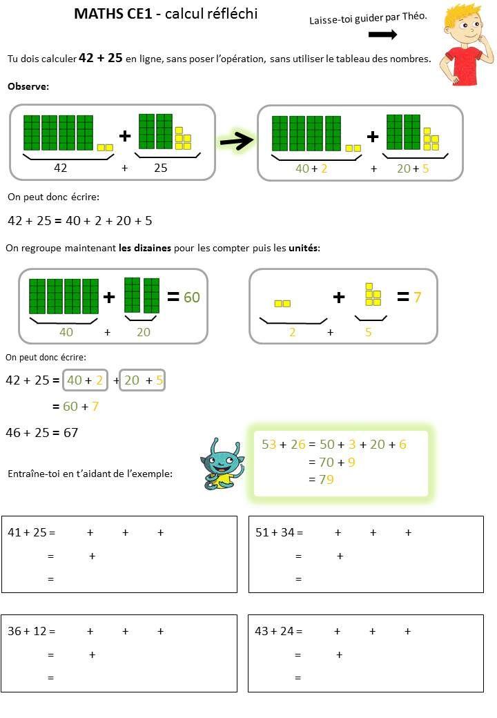 Calcul reflechi ce1 additionner mentalement 2 nombres 2 chiffres caracolus maths - Calcul nombre de parpaing ...