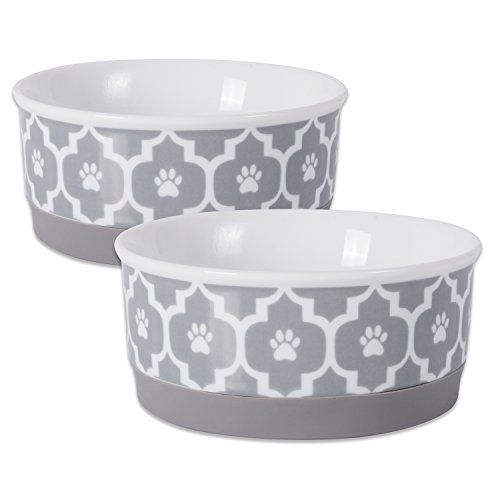 Bone Dry Dii Lattice Ceramic Pet Bowl For Food Water With Non Skid Silicone Rim For Dogs And Dogbowls Dogautomaticfee Ceramic Dog Bowl Pet Bowls Dog Bowls