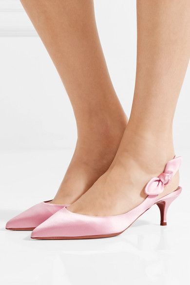 5cc41c5b1 Tabitha Simmons | 'Rise' Bow-Embellished Satin Slingback Pumps - Crafted  from glossy