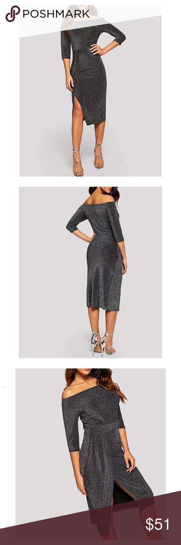 Silver Off the Shoulder Bodycon Midi Dress Off the Shoulder Neckline 34 Sleeve  Silver Off the Shoulder Bodycon Midi Dress Off the Shoulder Neckline 34 Sleeve  The perfec...