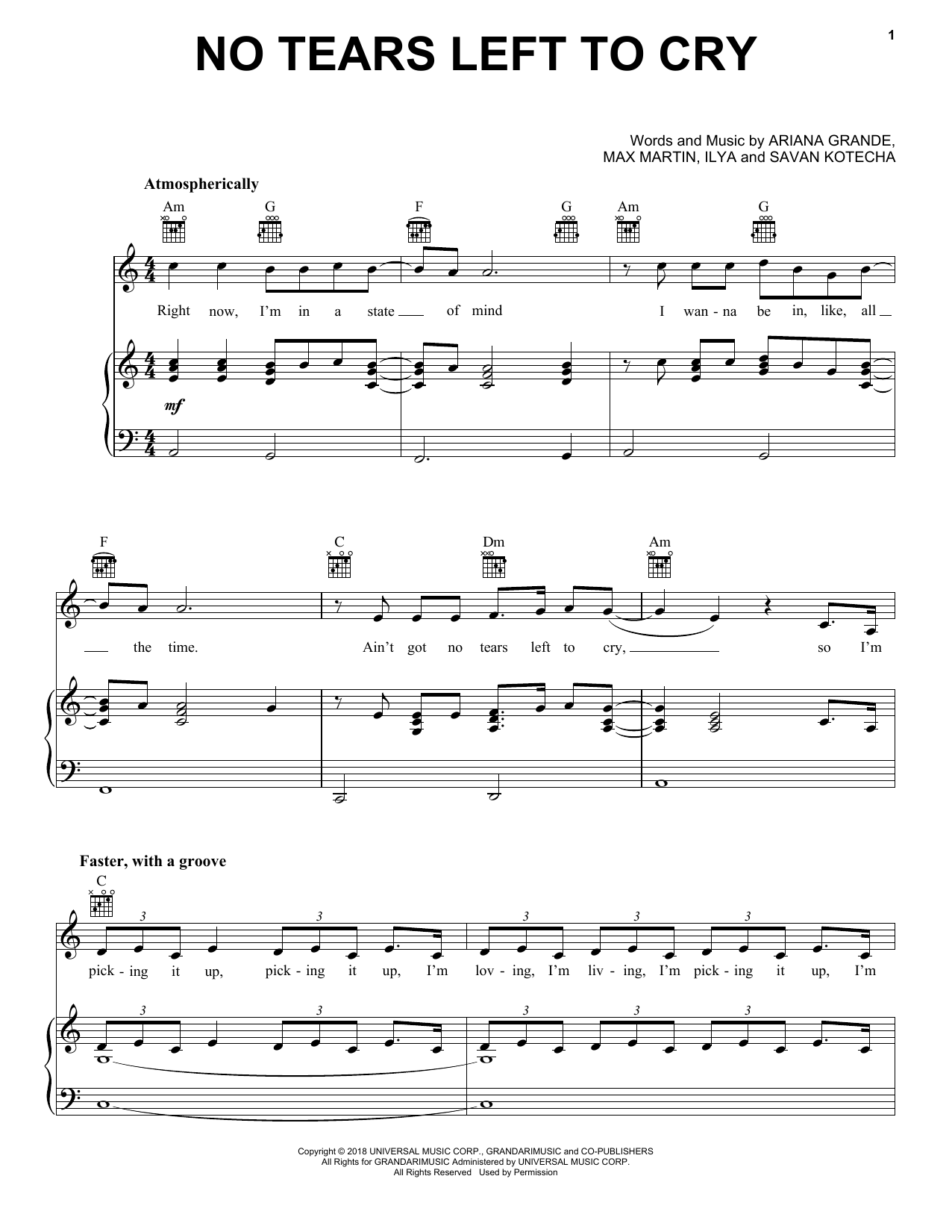 No Tears Left To Cry By Ariana Grande Easy Piano Sheet Music 2018