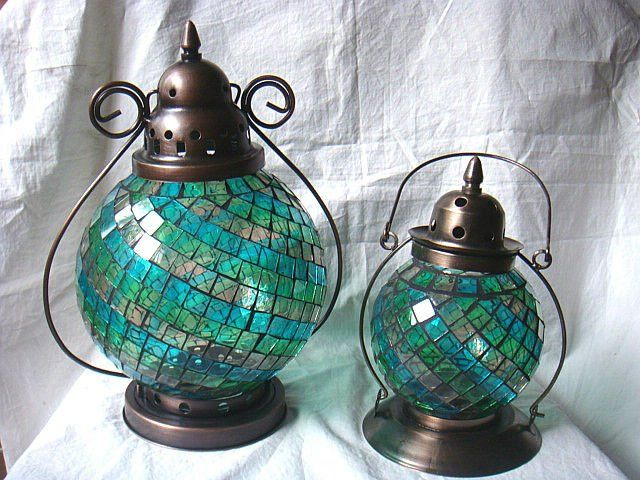 Blue Mosaic Round Shape Antique Moroccan Hanging Gl Candle Lanterns