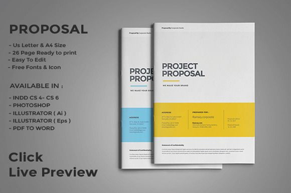 Project Proposal by fahmie on @creativemarket Design Templates - project proposal word template